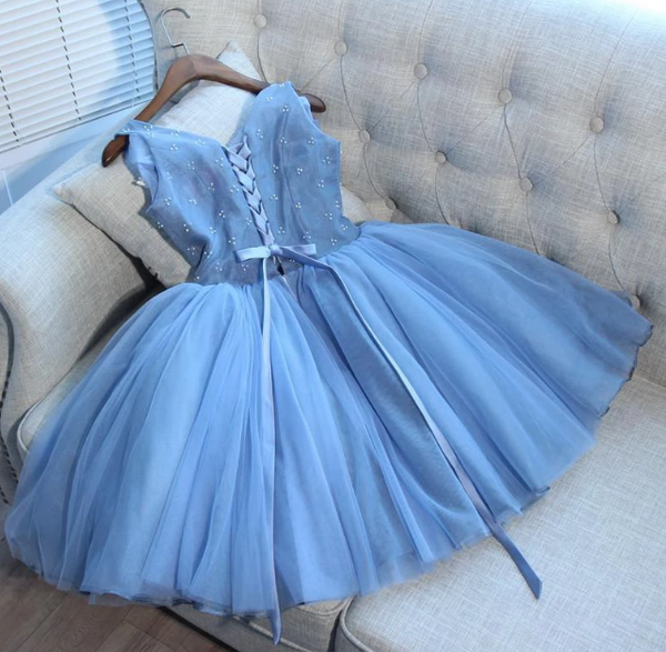 Cute Blue Lace Short Prom Dress, Blue Homecoming Dress