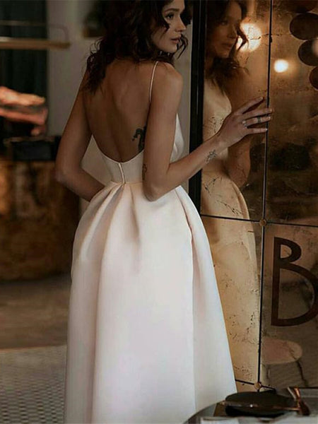 A Line  White Spaghetti Straps Backless Tea-Length Prom Dress With Pockets, White Backless Evening Dress