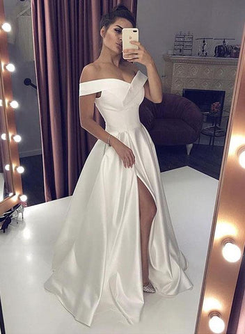 Off Shoulder White Stain Long Wedding Dresses With Leg Slit, Off The Shoulder White Prom Formal Dresses