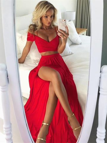 Off Shoulder 2 Pieces Red Prom Dress with Slit, Red 2 Pieces Formal Dresses