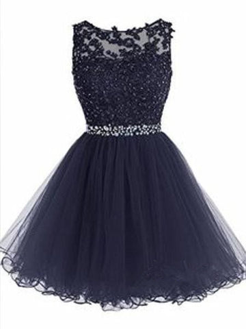 Custom Made A Line Round Neck Short Navy Blue Prom Dresses, Short Navy Blue Homecoming Dresses, Formal Dresses