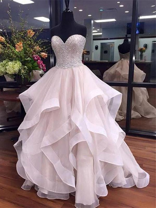 Custom Made Sweetheart Neck Floor-length Beading Organza Prom Dress, Formal Gowns, Party Dress