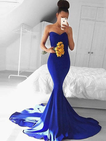 Sweetheart Neck Royal Blue Mermaid Sleeveless Prom Dresses, Mermaid Formal Dresses, Royal Blue Graduation Dresses