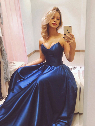 A Line Blue Strapless Satin Long Prom Dresses, Blue Strapless Satin Long Formal Evening Dresses