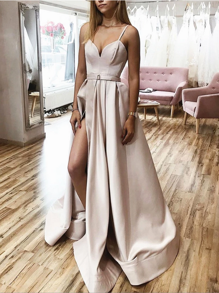 A Line V Neck Champagne Long Prom Dresses,  Champagne Long Formal Graduation Evening Dresses
