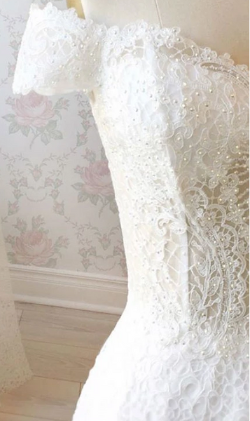 White Lace Off Shoulder Long Prom Dresses, White Lace Off The Shoulder Formal Evening Dresses