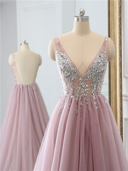 V neck pink backless beaded tulle long prom dress with high leg slit, pink backless beaded tulle evening dress