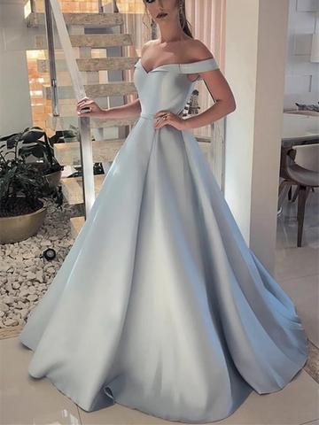 A Line Off Shoulder Satin Long Prom Dresses, A Line Off Shoulder Satin Long Formal Evening Dresses