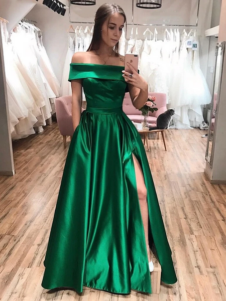 Off The Shoulder Green Satin Long Prom Dresses with Leg Slit, Off Shoulder Green Formal Evening Graduation Dresses 2020