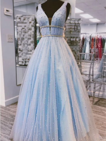 V Neck Light Blue Tulle Beaded Long Prom Dress,  Light Blue Tulle Beaded Long Formal Evening Dress