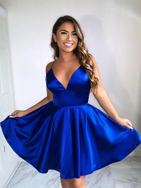A Line V Neck Blue Satin Short Prom Dresses, V Neck Blue Satin Short Graduation Evening Dresses