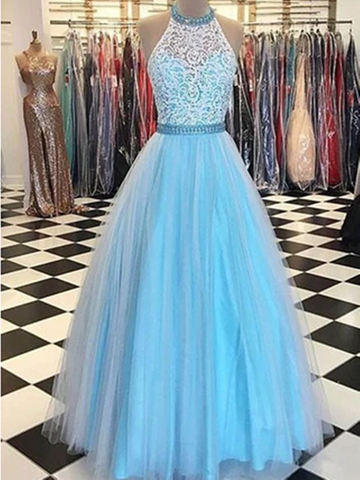 A Line Blue Halter Neck Lace Tulle Long Prom Gown,Long Tulle Sleeveless Formal Evening Dresses