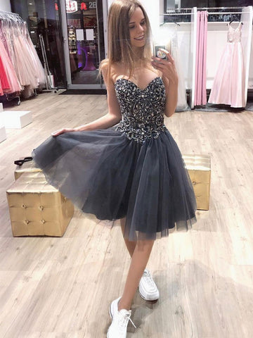 Gray Sweetheart Neck Tulle Beads Short Prom Dress, Gray Sweetheart Neck Tulle Beads Short Homecoming Dress