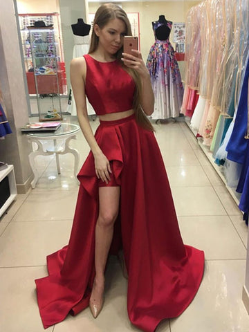 Round Neck Red Two Pieces High Low Satin Long Prom Dresses, Red 2 Pieces Formal Evening Dresses