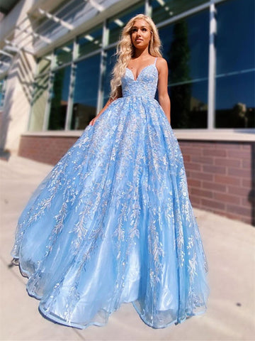 V Neck Blue Tulle Lace Long Prom Dresses,  Blue Tulle Lace Long Evening Dresses