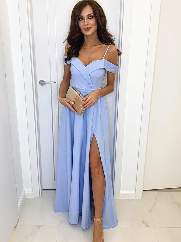 A Line Off Shoulder Blue Prom Dress with Leg Slit, Off the Shoulder Blue Bridesmaid Formal Evening Dresses
