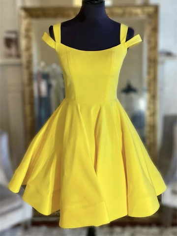 Short Yellow Satin Prom Dresses, Yellow Short Satin Homecoming Dresses, Satin Yellow Short Formal Evening Dresses