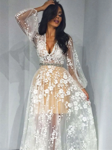 Unique Champagne Tulle White Applique Long Prom Dress, Long Sleeves Tulle White Applique Long Evening Dress