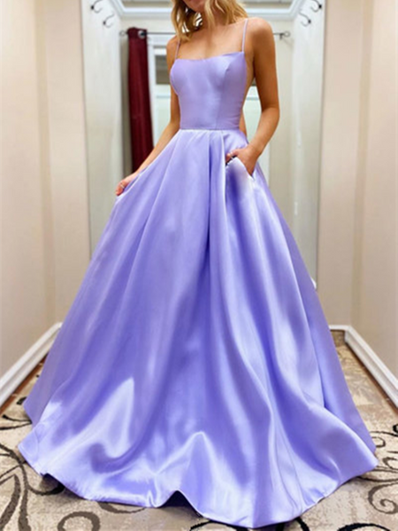 Simple A Line Purple Satin Long Prom Dresses, Long Purple Formal Evening Graduation Dresses