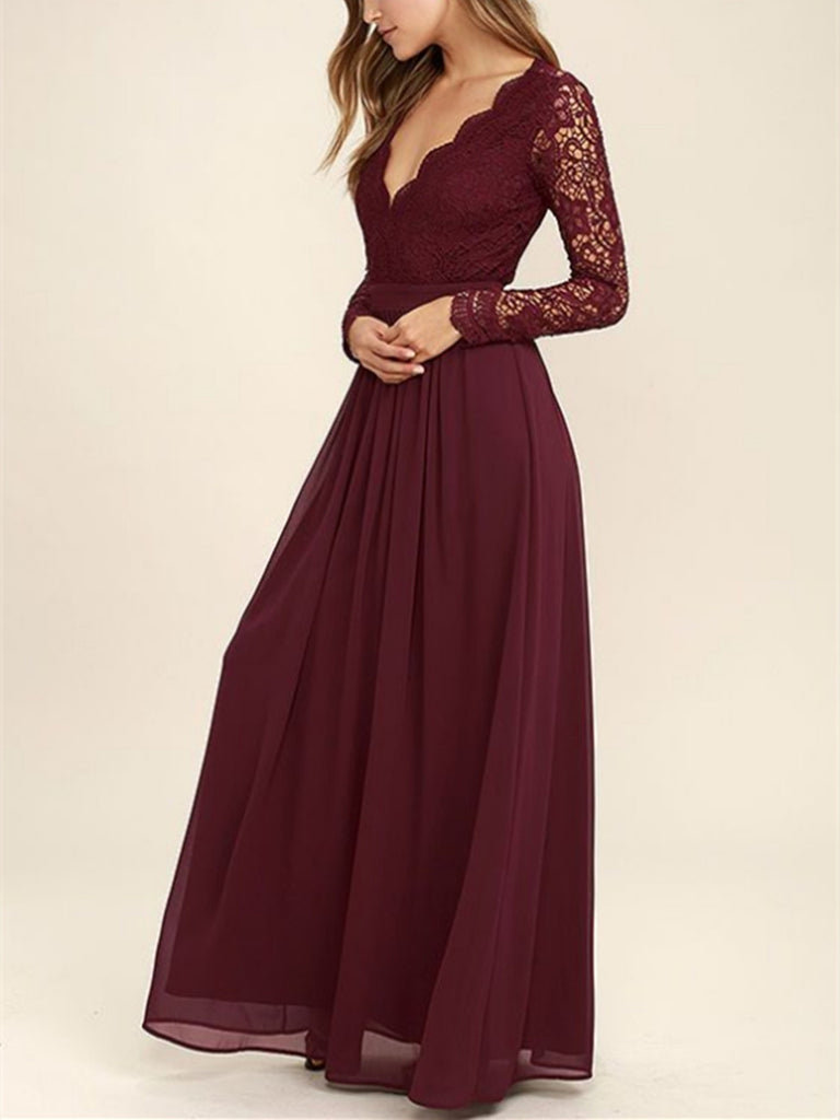 Dark Burgundy Lace Long Sleeves V Neck Bridesmaid Dress, Burgundy Lace  Long Prom Dress, Backless Evening Dress