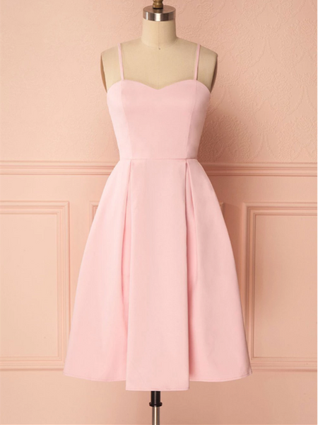 Pink Satin Short Prom Dress, Pink Homecoming Graduation Dress