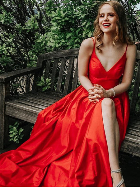 V Neck Red Satin Long Prom Dress With Leg Slit, V Neck Red Satin Long Formal Evening Dress