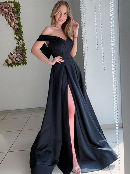 Off Shoulder Black Satin Long Prom Dresses with High Slit, Off The shoulder Black Formal Graduation Evening Dresses