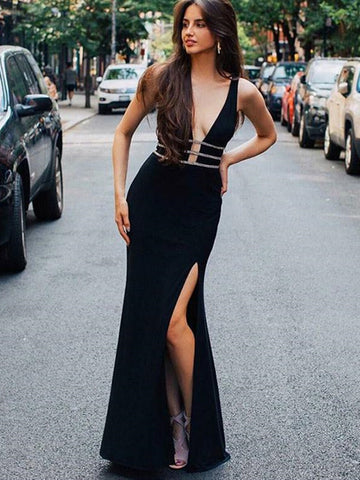 Deep V-Neck Black Mermaid Long Prom/Evening Dress with Beading Split, Black Mermaid Long Formal Dress