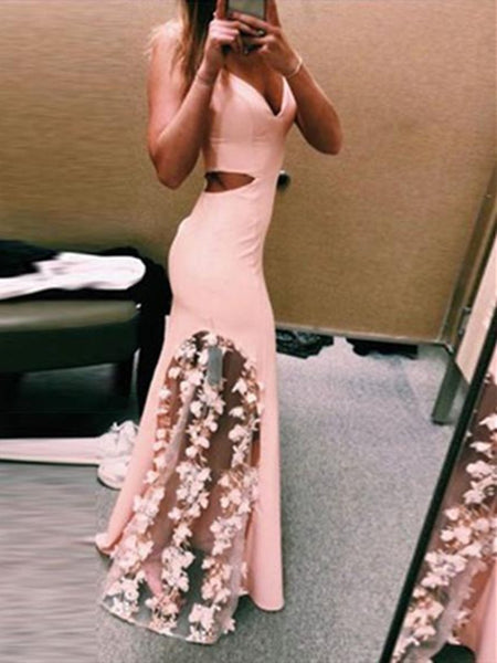 A- Line Pink mermaid applique Lace long prom dress,  Pink Lace Flower Evening dress Graduation Dresses, Pink Lace Formal Dresses