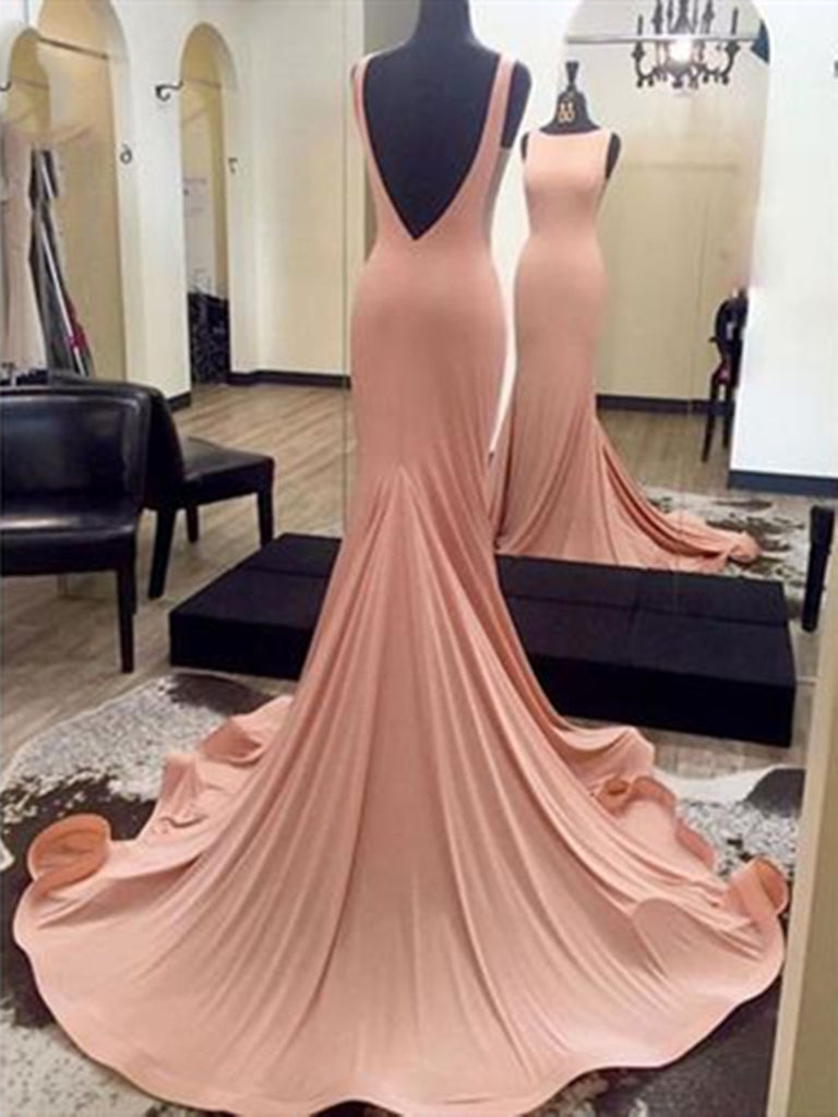 Open Back Round Neck Pink Mermaid Long Prom Dress, Round Neck Pink Mermaid Evening Dress