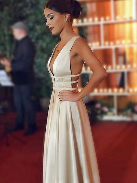 A Line V Neck Open Back Champagne Prom Dresses, Champagne V Neck Open Back Evening Dresses