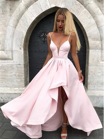 V-neck Pink Spaghetti Straps Split Formal Prom Dress, V-neck Pink Spaghetti Straps Evening Dress
