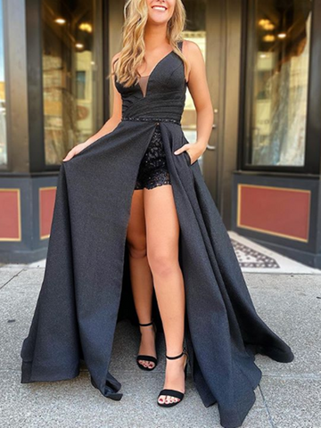 A Line V Neck Black Lace Long Prom Dresses With High Slit, Black Lace Long Formal Evening Dresses