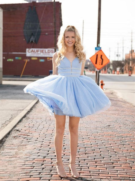 V Neck Blue Tulle Short Prom Dress, V Neck Blue Tulle Short Homecoming Dress