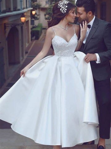 Simple Sweetheart White Tea Length Prom Dresses, Sweetheart White Tea Length  Wedding Dresses