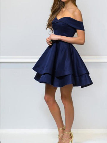 Off shoulder Short Navy Blue Prom Dresses, Short Navy Blue Formal Graduation Evening Homecoming Dresses