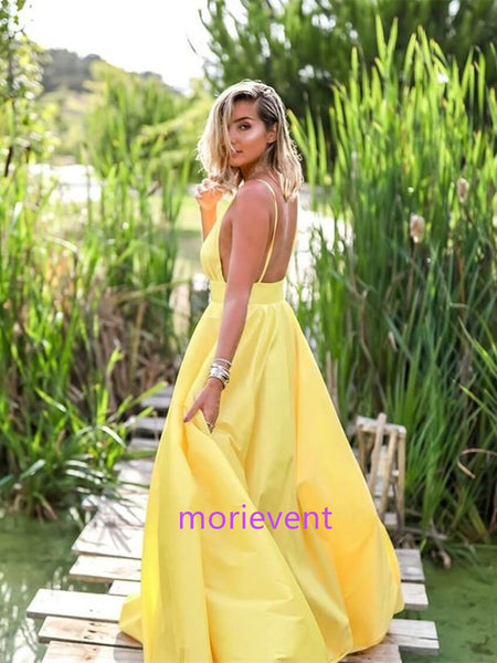 A Line V Neck Yellow Satin Long Prom Dresses, Yellow Long Evening Dresses, Backless Formal Dresses