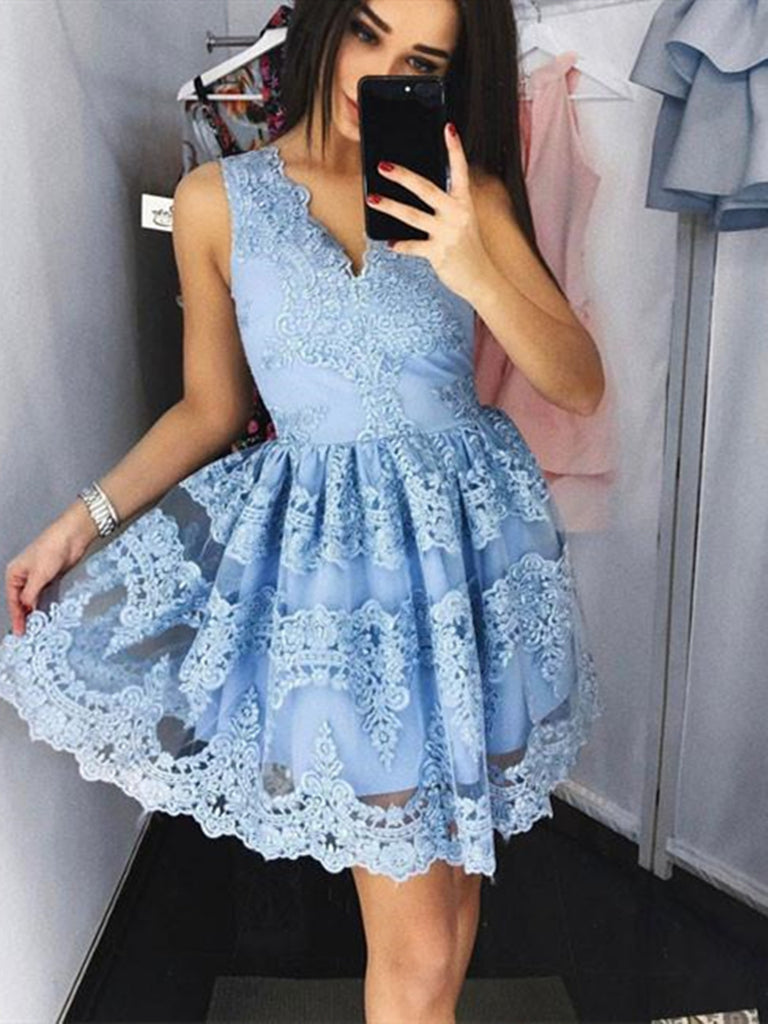 Cute Blue Lace Short Prom Dresses,  Blue Lace Short Graduation Homecoming Dresses