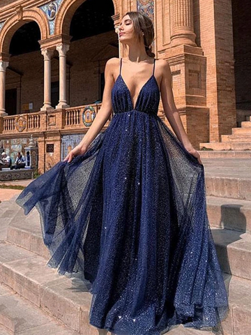 Sparkly A Line V Neck Backless Sequins Navy Blue Prom Long Dresses, Navy Blue Open Back  Formal Evening Dresses