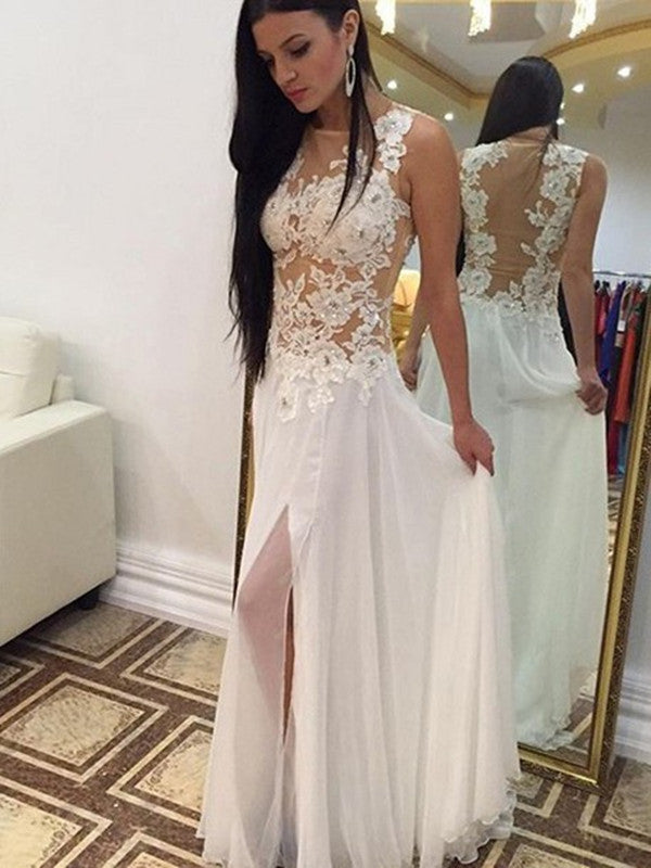 A Line Round Neck White Lace Wedding Dress, White Lace Prom Dresses, Lace Formal Dresses
