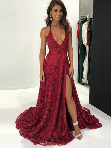 A Line V Neck Burgundy Lace Prom Dresses With Leg Slit, Backless Burgundy Lace Formal Graduation Evening Dresses
