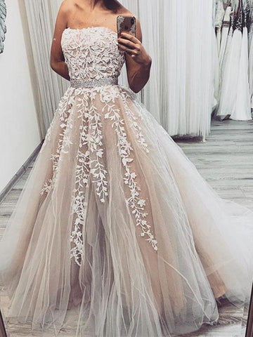 A Line Strapless Champagne Lace long  Wedding Dress, Champagne Lace Long Prom Dresses Formal Graduation Evening Dresses