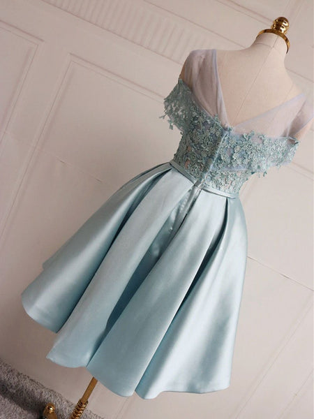 A Line Blue Lace Short Prom Dresses, Blue Lace Short Formal Homecoming Graduation Dresses