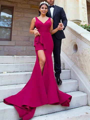 V Neck Mermaid Burgundy Satin Long  Bridesmaid Dress With Side Split, Mermaid Burgundy Prom Evening Dress