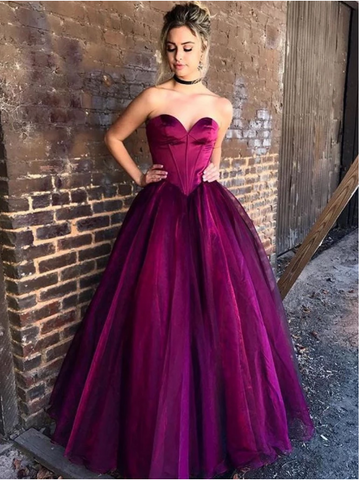 Custom Made Sweetheart Neck Purple/Red Prom Dresses, Sweetheart Neck Purple/Red Long Formal Dresses