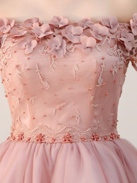 Dusty Pink Off Shoulder Short Sleeves Homecoming Dress, Dusty Pink Off Shoulder Short Sleeves Prom Dress