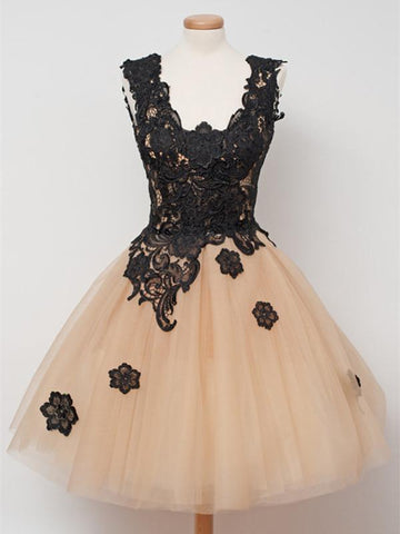 Custom Made Short Champagne Prom Dresses with Black Lace Appliques, Champagne Homecoming Dresses, Graduation Dresses