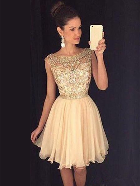 A Line Round Neck Cap Sleeves Short Champagne Prom Dress, Short Champagne Homecoming Dress, Graduation Dress