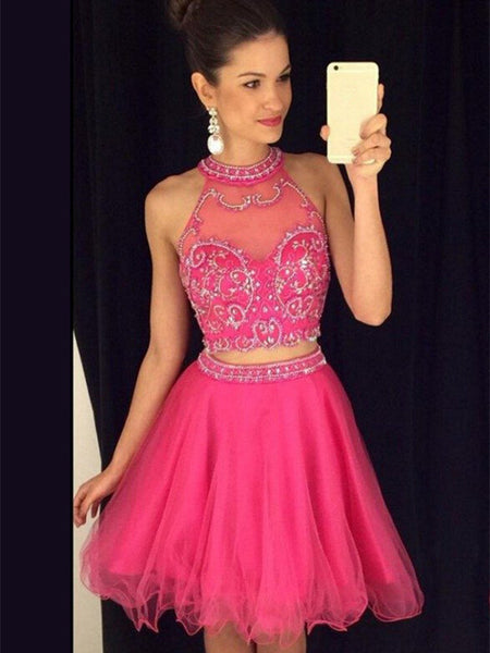 A Line Halter Neck Short 2 Pieces Rose Prom Dress, 2 Pieces Rose Homecoming Dress, 2 Pieces Graduation Dress