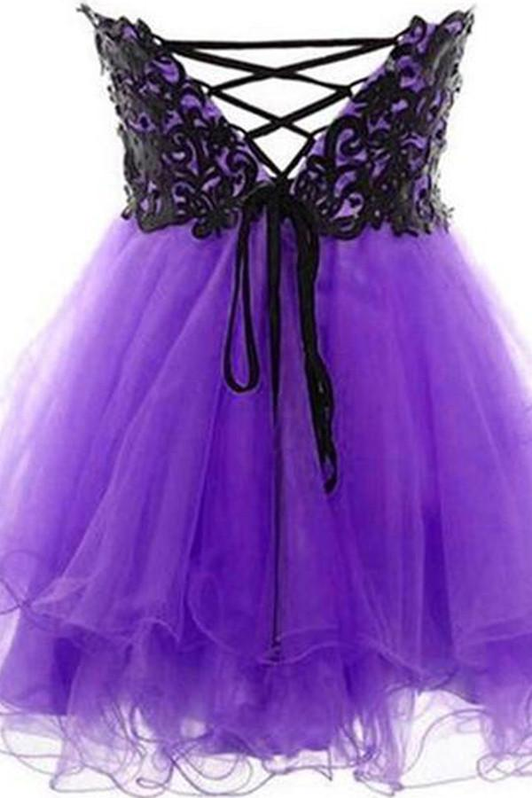 Sweetheart Neck Short Purple Prom Dress With Black Lace Short